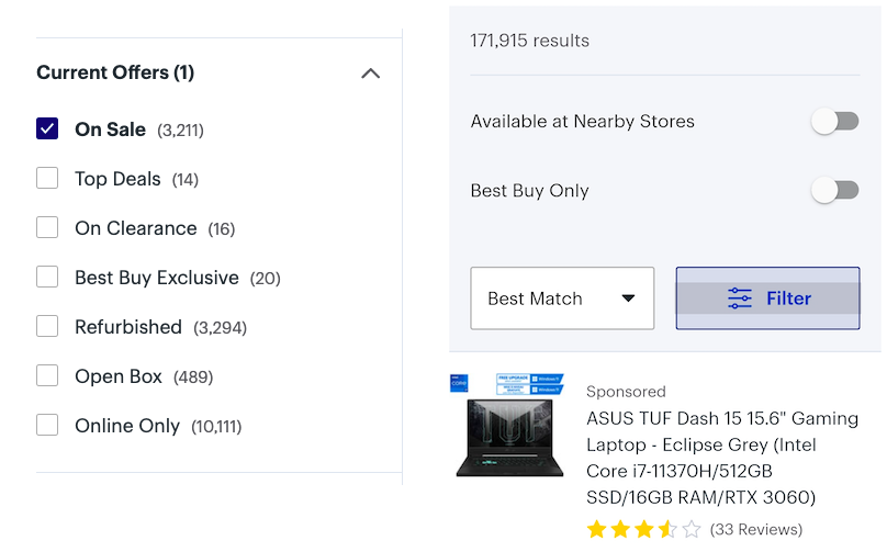 sales filters on both desktop and mobile devices
