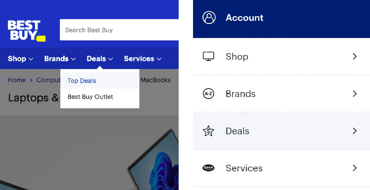 the BestBuy.ca Deals tab on both desktop and mobile devices
