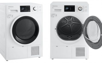Side by side image of the Insignia electric dryer open and closed.