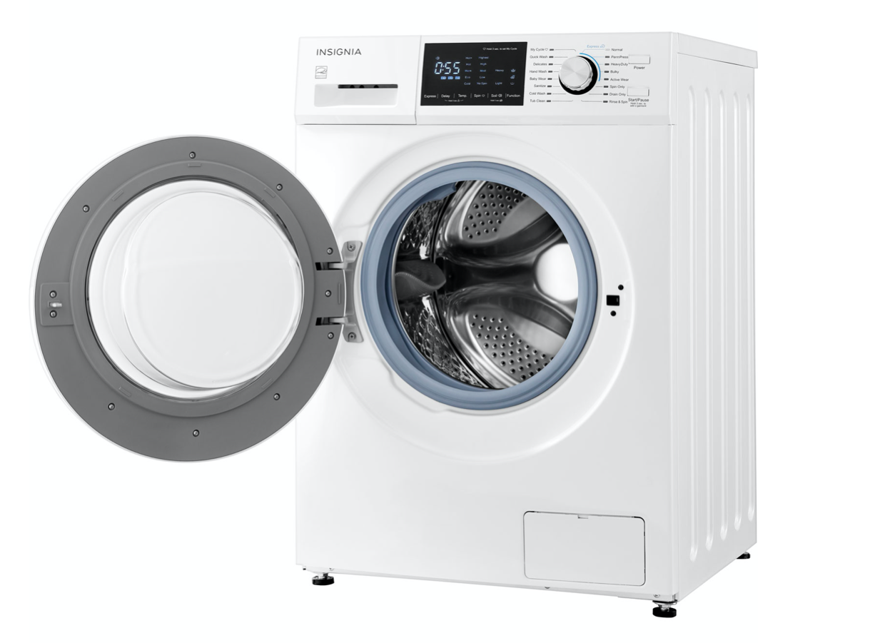 Insignia washer with the door open
