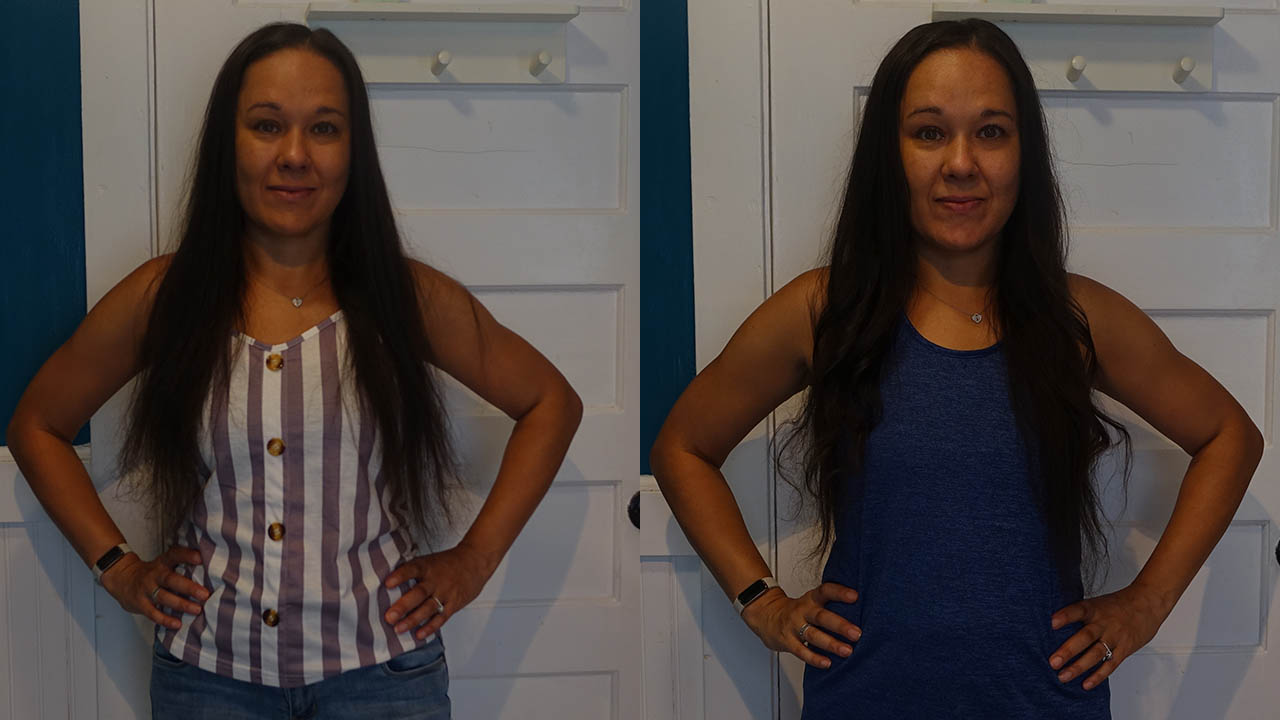 Before and after photos using the Lunata cordless curler