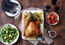 Holiday feast with turkey and all the fixings.