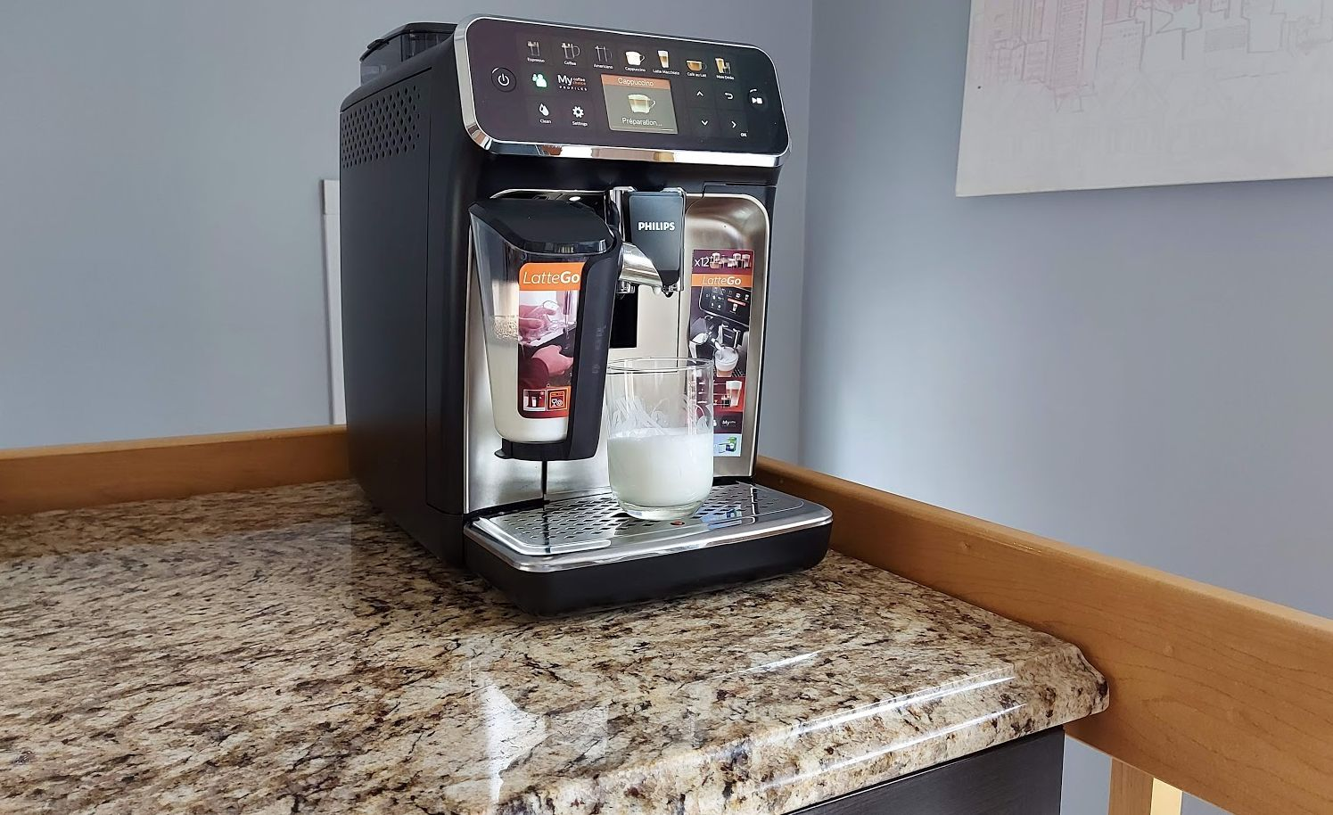 Philips 5400 with Latte Go on a counter.